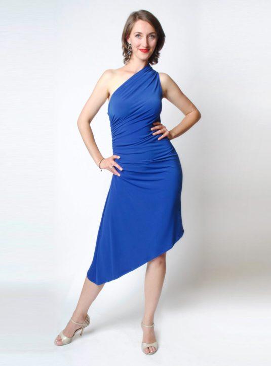 Carolina asymmetrisches Kleid blau (1)