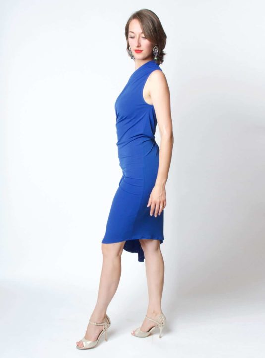 Carolina asymmetrisches Kleid blau (2)