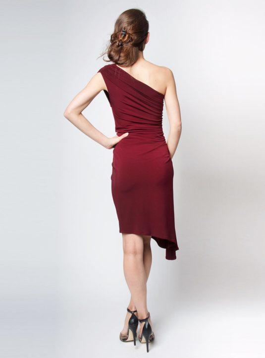 Carolina asymmetrisches Kleid bordeaux (3)