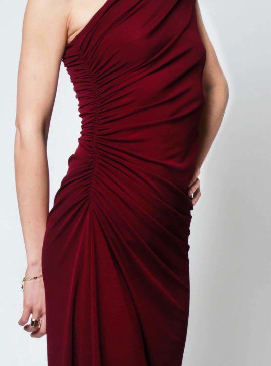 Carolina asymmetrisches Kleid bordeaux (4)