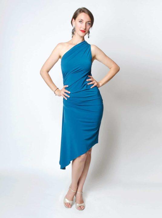 Carolina asymmetrisches Kleid petrol (1)
