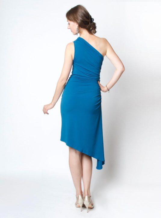 Carolina asymmetrisches Kleid petrol (3)