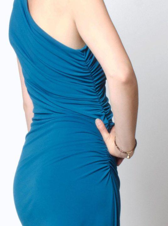 Carolina asymmetrisches Kleid petrol (4)
