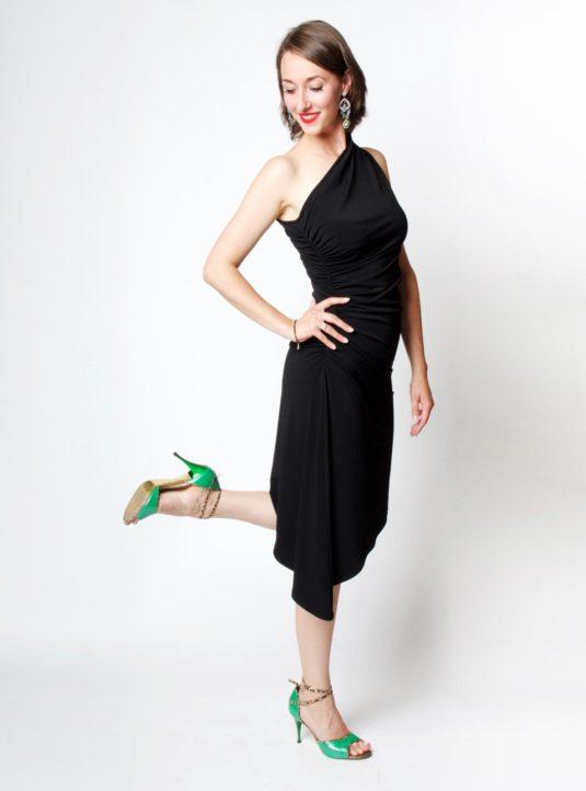 Carolina asymmetrisches Kleid schwarz (2)