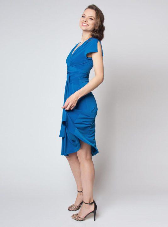 Lucila Wickelkleid Kurzarm blau (2)