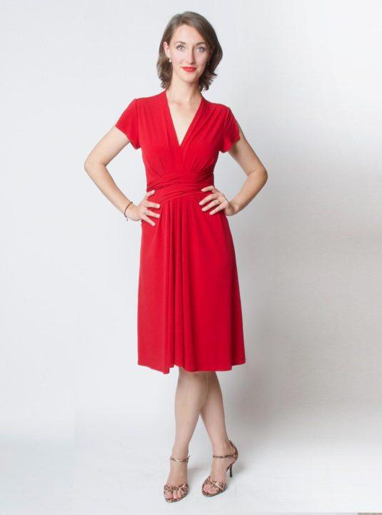 Lucila Wickelkleid Kurzarm rot (1)