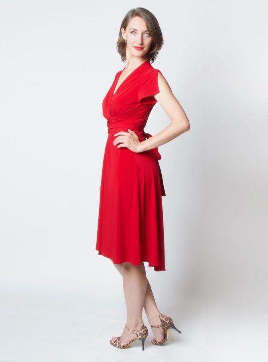 Lucila Wickelkleid Kurzarm rot (2)