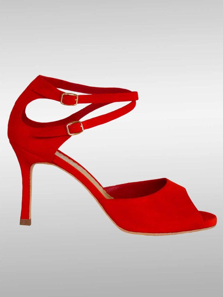 Malena Tanzschuh rot 1 768x1024 - Malena No. 4008 Tanzschuh rot mit 2 Riemchen