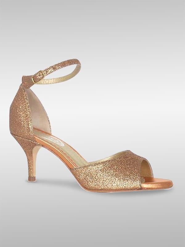 Gloria Tanzschuh Leder Kupferfarben Mit Glitter