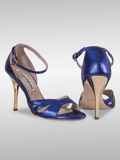 Aura Tangoschuh Blau Mit Reptilprägung (2)