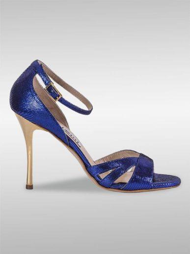 Aura Tangoschuh Blau Mit Reptilprägung
