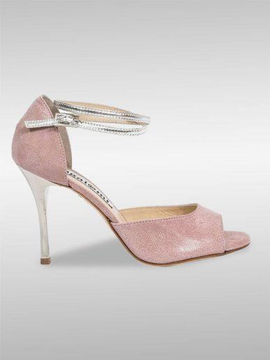 Isabel Tango Schuh In Altrosa Mit Silbermetallic Leder