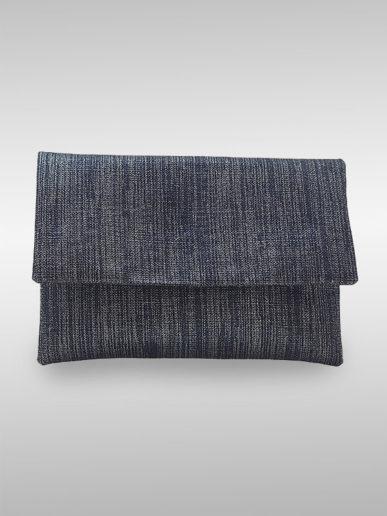 Romina Clutch Tasche Blue Jeans Mit Lurex