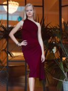 Carolina Asymmetrisches Kleid Bordeaux Live