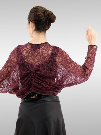 Bolerojäckchen Kimono Stil Bordeaux Rot
